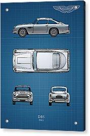 Blueprint Aston Martin Db5 Acrylic Print by Mark Rogan