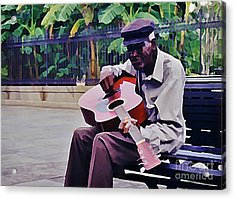 Blues Guitar Player In New Orleans Acrylic Print by John Malone