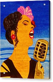 Acrylic Print featuring the drawing Blues Singer by Celeste Manning