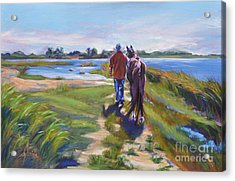 Bluff Point Beach Bums Acrylic Print by Sylvina Rollins