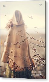 Blurred Image Of A Woman With Cape Acrylic Print by Sandra Cunningham