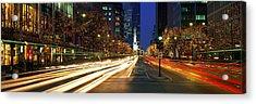 Blurred Motion, Cars, Michigan Avenue Acrylic Print