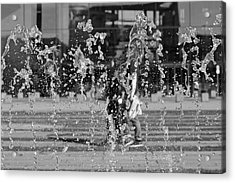 Blurred Motion Of Fountain Against Building Acrylic Print by Aydin Aksakal / EyeEm