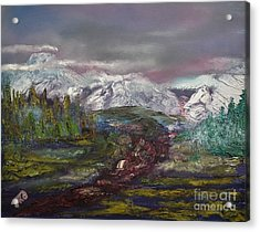 Acrylic Print featuring the painting Blurred Mountain by Jan Dappen
