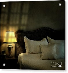 Blurry Image Of A Vintage Looking Bedroom Acrylic Print by Sandra Cunningham