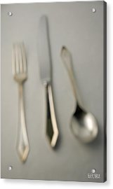 Blurry Silver Cutlery Acrylic Print by Beverly Brown