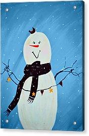 Blushing Snowman Acrylic Print by Chastity Hoff