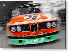 Bmw Front End Watercolor Acrylic Print by Naxart Studio