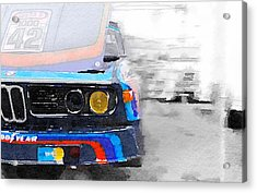 Bmw Lamp And Grill Watercolor Acrylic Print by Naxart Studio