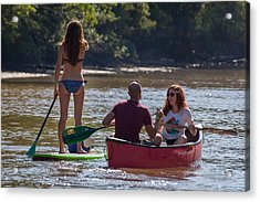 Board And Canoe In Vermillionville Boat Parade Acrylic Print