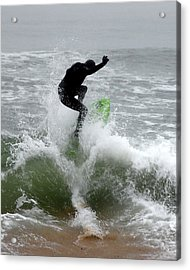 Boardskimming - Into The Surf Acrylic Print by Kim Bemis
