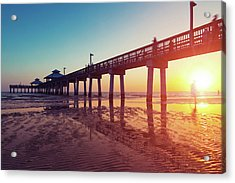 Boardwalk At Sunset While The Sun Acrylic Print