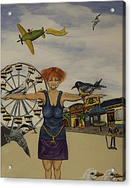 Boardwalk Birdwoman Acrylic Print