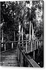 Boardwalk In Black And White Acrylic Print by K Simmons Luna