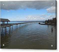Boardwalk In Blue Acrylic Print by Karen Molenaar Terrell