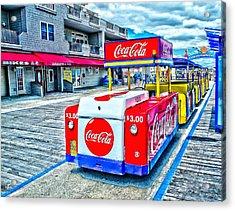 Boardwalk Tram  Acrylic Print by Nick Zelinsky