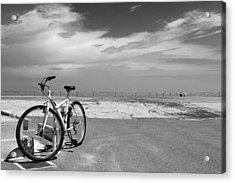 Boardwalk View With Bike In Antibes France Black And White Acrylic Print by Ben and Raisa Gertsberg