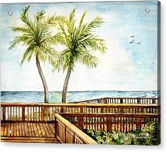 Boardwalk With Two Palms Acrylic Print