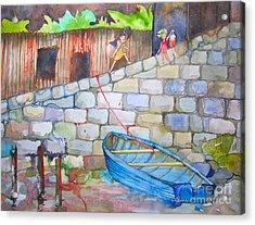 Boat Along The Wall Acrylic Print by Maya Simonson