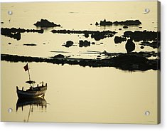 Boat Amongst The Rocks Acrylic Print by Rajiv Chopra