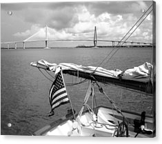 Acrylic Print featuring the photograph Boat And Charleston Bridge by Ellen Tully