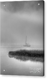 Boat And Morning Fog Acrylic Print