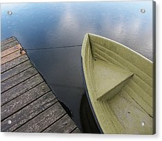 Boat And Wooden Pier - Quiet And Peaceful Scenery Acrylic Print by Matthias Hauser