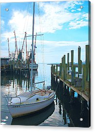Boat At Dock By Jan Marvin Acrylic Print
