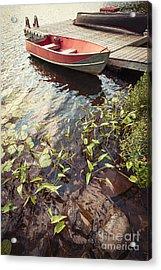 Boat At Dock  Acrylic Print by Elena Elisseeva