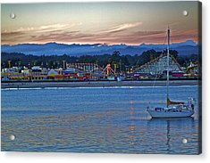 Boat At Dusk Santa Cruz Boardwalk Acrylic Print