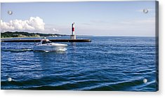 Boat At Holland Pier Acrylic Print by Lars Lentz