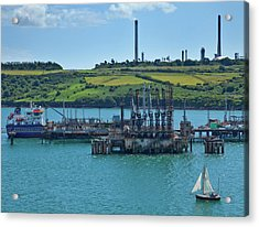 Boat At Refinary In Milford Haven Acrylic Print