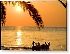 Boat At Sea Sunset Golden Color With Palm Acrylic Print by Raimond Klavins