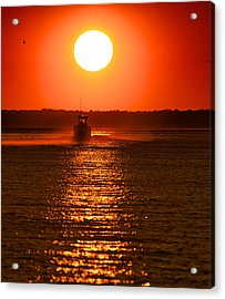 Boat At Sunset Acrylic Print