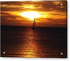 Acrylic Print featuring the photograph Boat At Sunset by Susan Crossman Buscho