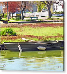 Boat At The Pond Acrylic Print by Barbara McDevitt
