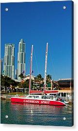 Boat By City Acrylic Print