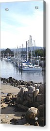 Boat Dock And Big Rocks Right Acrylic Print by Barbara Snyder