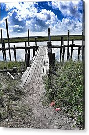 Boat Dock With Gulls Acrylic Print by Patricia Greer