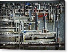 Boat Docks In Lake Macatawa Acrylic Print by Randall Nyhof