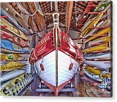 Boat Frenzy Acrylic Print by Pauline Flesseman