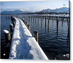 boat harbour at Lake Chiemsee in winter Acrylic Print