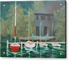 Acrylic Print featuring the painting Boat House At Dusk by Tony Caviston