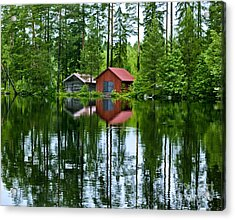 Boat House On Swedish Lake Acrylic Print