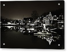 Boat House Row - In The Dark Of Night Acrylic Print by Bill Cannon
