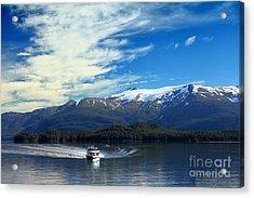Boat In Alaska Fjord Acrylic Print