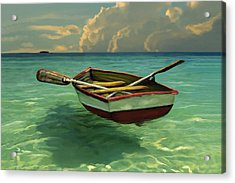 Boat In Clear Water Acrylic Print
