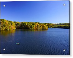 Acrylic Print featuring the photograph Boat In Croton Reservoir - Ny by Rafael Quirindongo