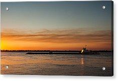 Boat In Sunset Acrylic Print by Carlos V Bidart
