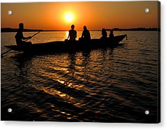 Boat In Sunset On Chilika Lake India Acrylic Print